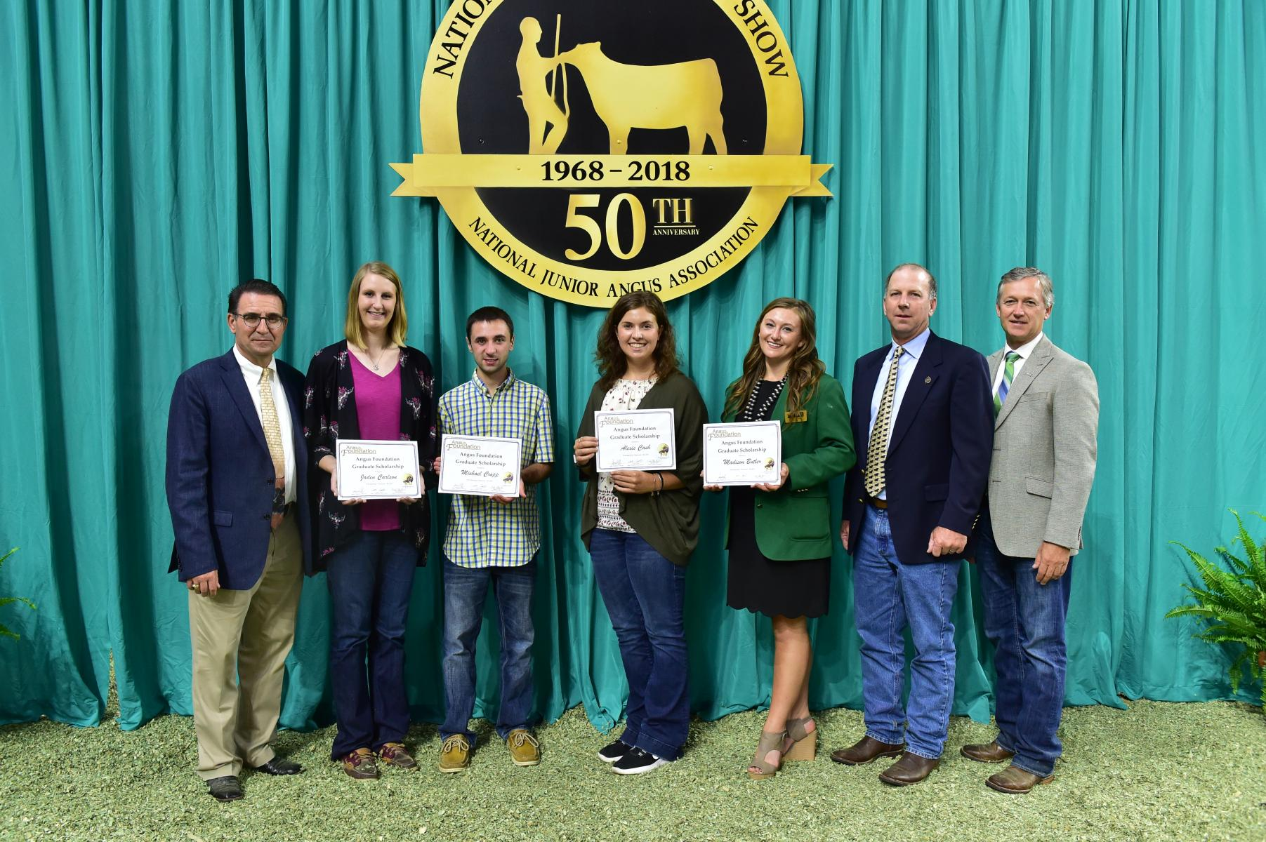 UNL graduate student Jaden Carlson (second from left) was one of five awarded a 2018 Angus Foundation Graduate Scholarship.