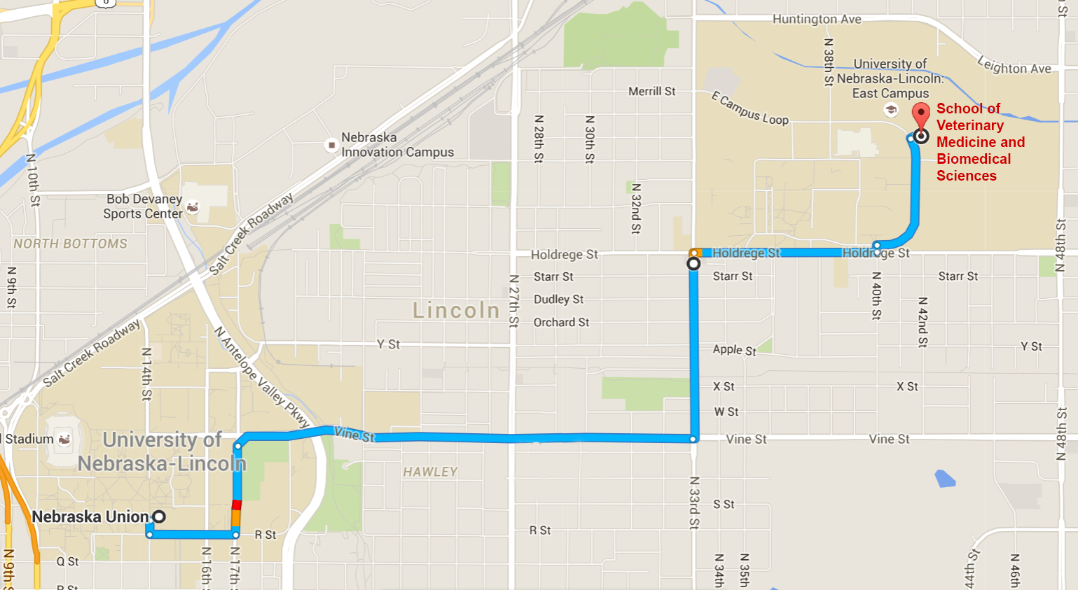 Map showing driving directions from UNL City Campus to School of Veterinary Medicine and Biomedical Sciences