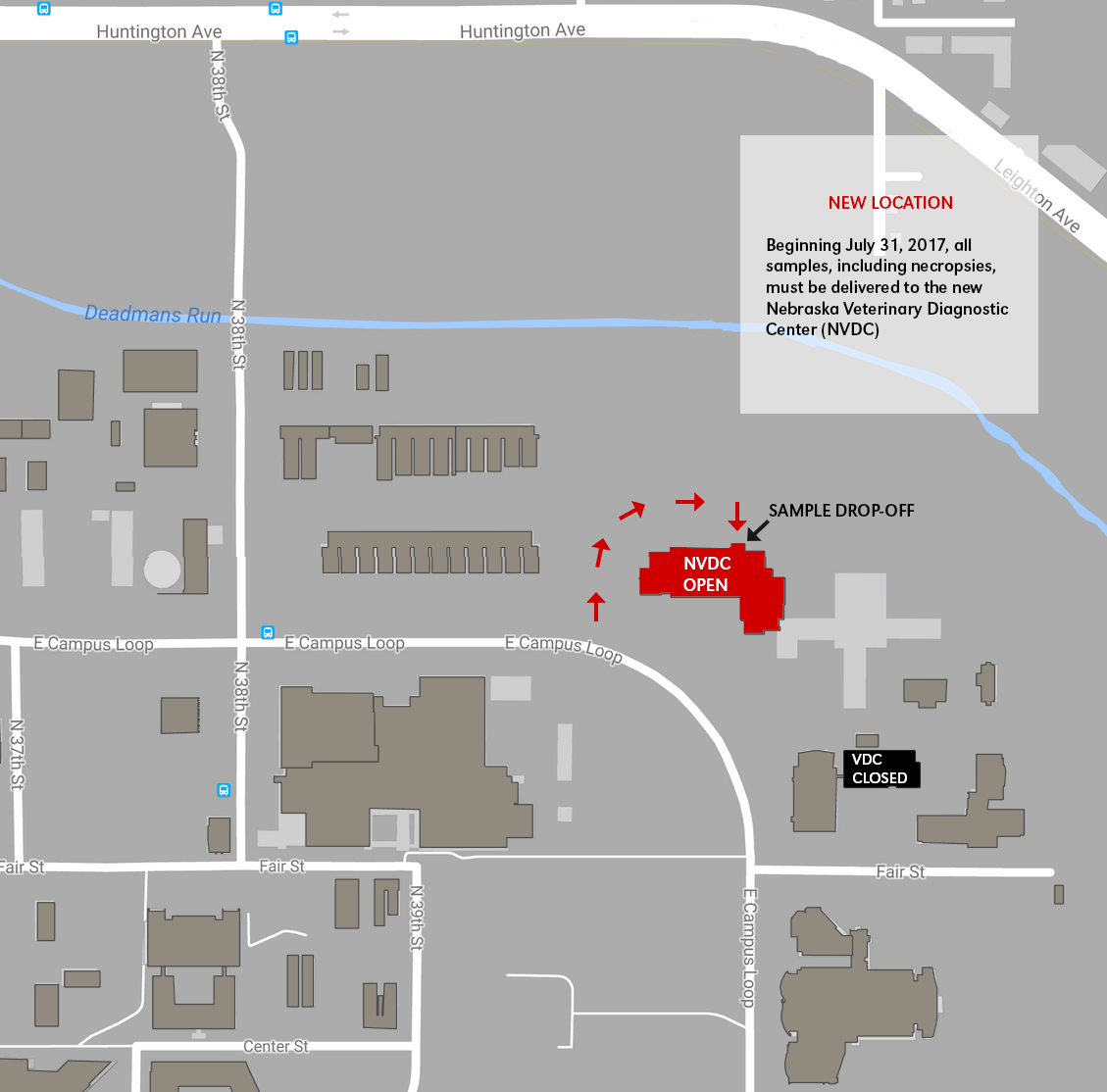 Map showing where the VDC is located on East Campus.