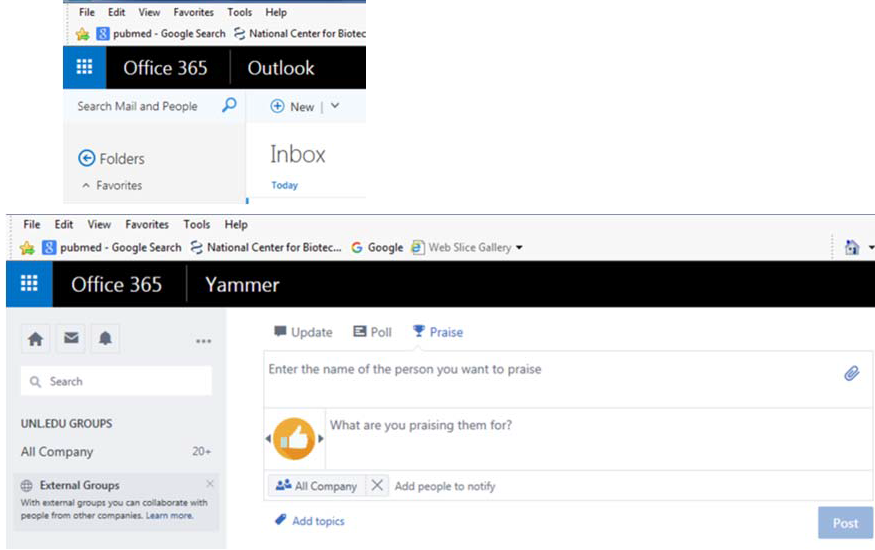 Images showing Yammer screens