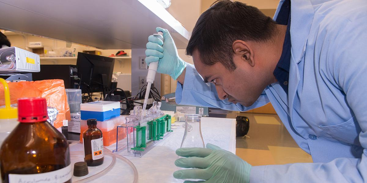 A graduate student doing work in a lab.